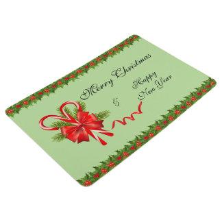 Alfombra Navidad de las bayas del acebo y bastones de