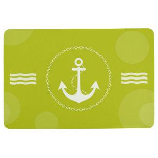 Alfombra Verde lima moderna náutica del ancla