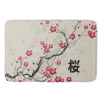 Alfombrilla De Baño Arte oriental de la flor de cerezo de Sakura del