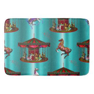 Alfombrilla De Baño Caballos del carrusel en azul