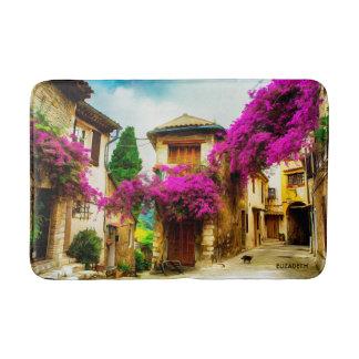 Alfombrilla De Baño Calle soleada vieja hermosa con los árboles