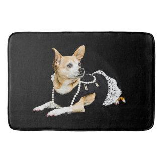 Alfombrilla De Baño Chihuahua atractiva pintada beige en fondo negro