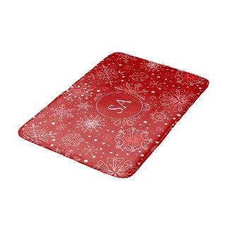 Alfombrilla De Baño Copos de nieve hermosos en navidad rojo del fondo