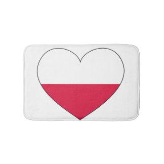 Alfombrilla De Baño Corazón de la bandera de Polonia