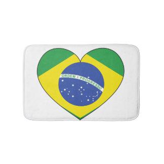 Alfombrilla De Baño Corazón de la bandera del Brasil