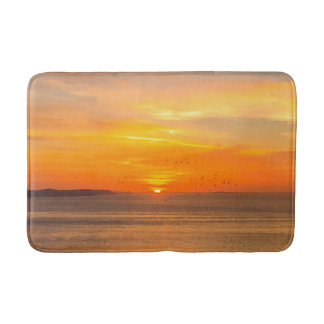 Alfombrilla De Baño Costa de la puesta del sol con Sun anaranjado y