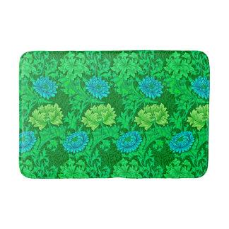 Alfombrilla De Baño Crisantemos, verde lima y aguamarina de William