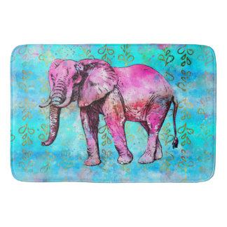 Alfombrilla De Baño De moda azul del rosa de la acuarela del elefante