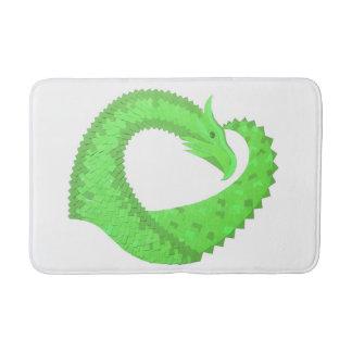 Alfombrilla De Baño Dragón del corazón de la verde lima en blanco