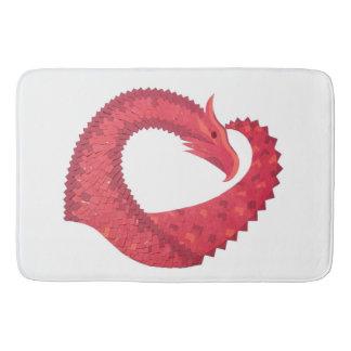 Alfombrilla De Baño Dragón rojo del corazón en blanco