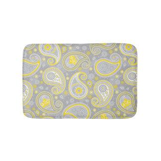 Alfombrilla De Baño Elegante amarillo y gris del modelo de Paisley