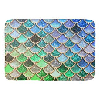 Alfombrilla De Baño Escalas brillantes azulverdes de la sirena del