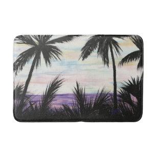 Alfombrilla De Baño Escena púrpura de la playa para el baño