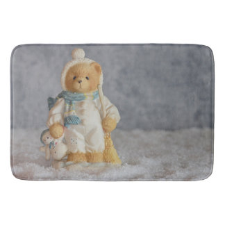 Alfombrilla De Baño Estatuilla del oso de peluche del invierno