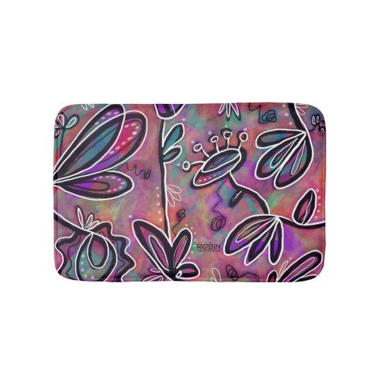 Alfombrilla De Baño Estera de baño floral abstracta