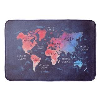 Alfombrilla De Baño estera de baño grande del mapa del mundo