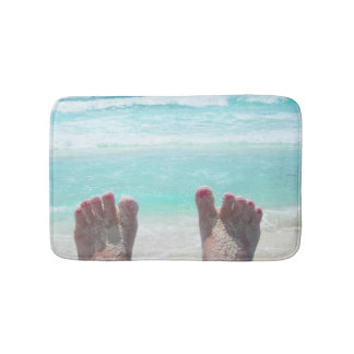 Alfombrilla De Baño Estera de baño, pies, olas oceánicas