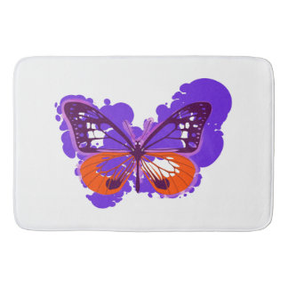 Alfombrilla De Baño Estera de baño púrpura de la mariposa del arte pop