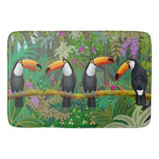 Alfombrilla De Baño Estera de baño tropical de los pájaros de Toucan