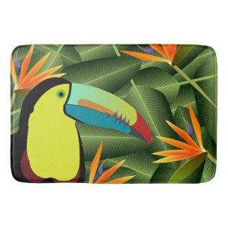Alfombrilla De Baño Flores tropicales de Toucan y de las aves del