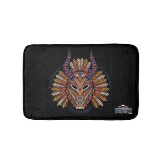 Alfombrilla De Baño Icono tribal negro de la máscara de la pantera el