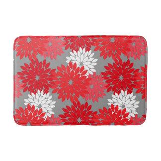 Alfombrilla De Baño Impresión floral moderna del kimono, rojo y gris