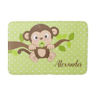 Alfombrilla De Baño Lunares lindos del verde del mono del bebé