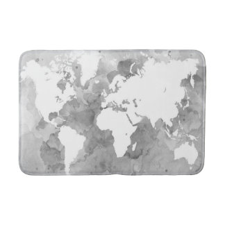 Alfombrilla De Baño Mapa del mundo del grayscale del diseño 49