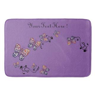 Alfombrilla De Baño Mariposa dibujada mano púrpura del vintage