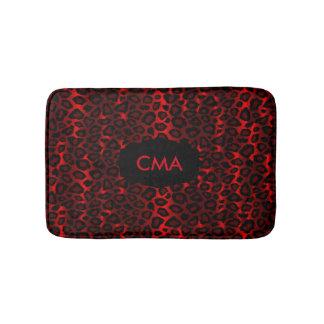 Alfombrilla De Baño Modelo de color rojo oscuro del monograma del
