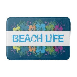Alfombrilla De Baño Modelo del hibisco de la vida de la playa