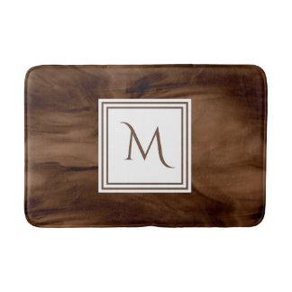 Alfombrilla De Baño Monograma moderno de mármol sutil oscuro simple de