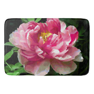 Alfombrilla De Baño Multa blanca rosada de la acuarela del Peony