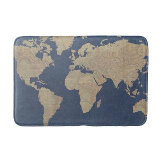 Alfombrilla De Baño Oro y mapa del mundo azul