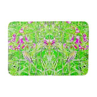 Alfombrilla De Baño Pequeño colibrí verde y flores púrpuras