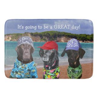 Alfombrilla De Baño Perros divertidos en la estera de baño de la playa