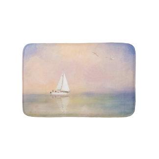Alfombrilla De Baño Pintura de Digitaces del velero y de gaviotas