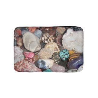 Alfombrilla De Baño Porciones de rocas pulidas, ágata, ojo del tigre,