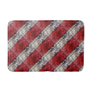 Alfombrilla De Baño Rojo y rayas texturizadas gris