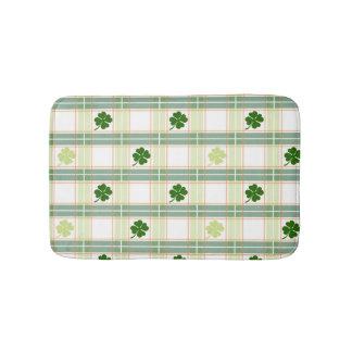 Alfombrilla De Baño Tela escocesa verde magnífica del trébol