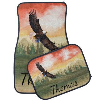 Alfombrilla De Coche América Eagle calvo personalizado en vuelo