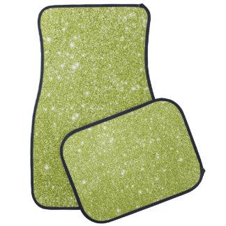 Alfombrilla De Coche Chispas del brillo de la verde lima