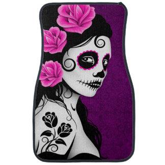 Alfombrilla De Coche Día de la púrpura muerta del chica del cráneo del