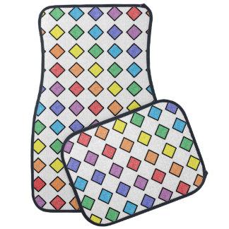 Alfombrilla De Coche Diamantes estáticos resumidos negro del arco iris