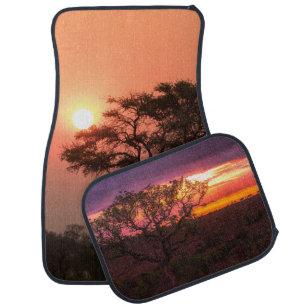 Alfombrilla De Coche El árbol de África de la puesta del sol