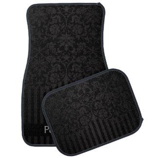 Alfombrilla De Coche El damasco elegante en una impresión negra el |