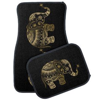 Alfombrilla De Coche El oro entona el elefante tribal lindo