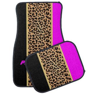 Alfombrilla De Coche Estampado de animales magenta y negro del leopardo