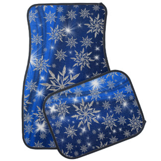 Alfombrilla De Coche Estrellas azules del navidad con el cristal de