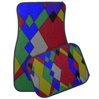 Alfombrilla De Coche Extracto colorido retro del diamante